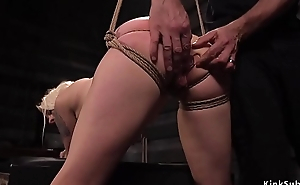 Blonde slave butt plugged and fucked