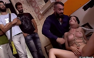 Euro babe takes facials in public bar