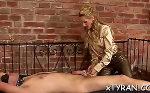 Babe gets her mouth and cunt drilled in possession fetish