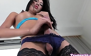 Busty tranny Nan plays with her huge dong