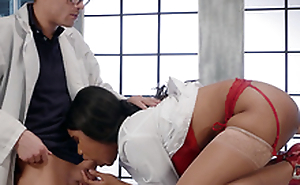 Dr. Jenna J Foxx sucking Dr. Corvus while getting fucked by a fuck machine