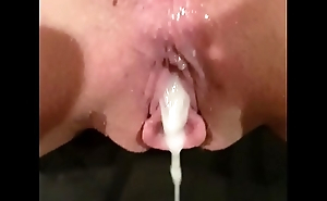 Cum pouring out of girlfriends pussy
