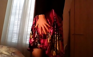 Amateur cross dresser in a cute flower dress and sexy black blazer teasing and masturbating