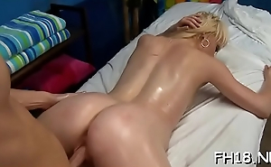 Diminutive drilled hard by her massage therapist